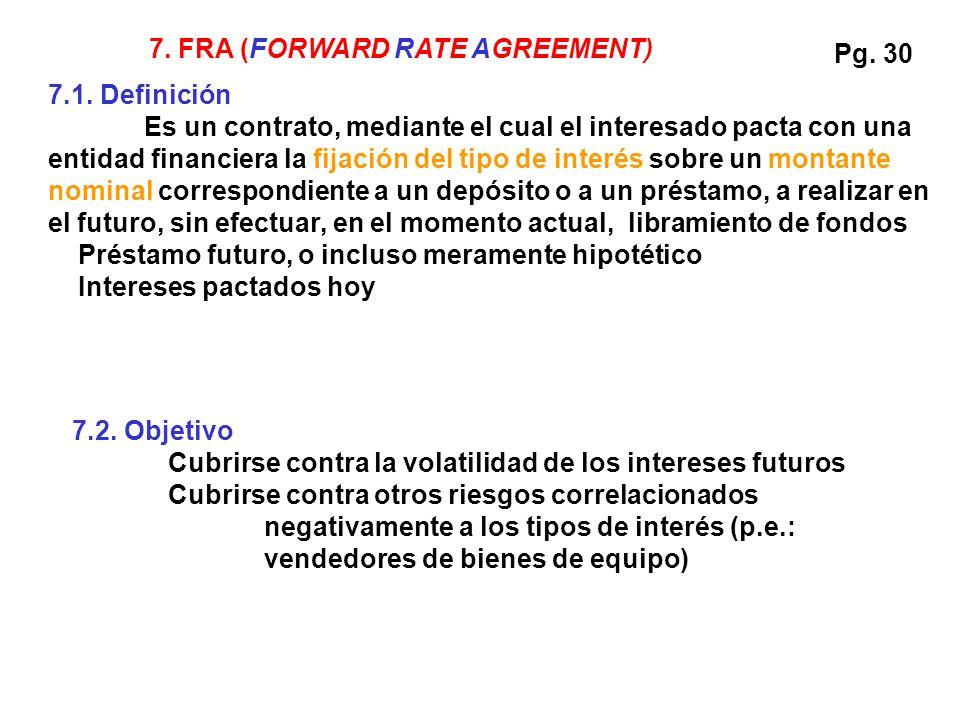 7.1. Definición Es un contrato, mediante el cual el interesado pacta con una entidad financiera la fijación del tipo de interés sobre un montante nomi