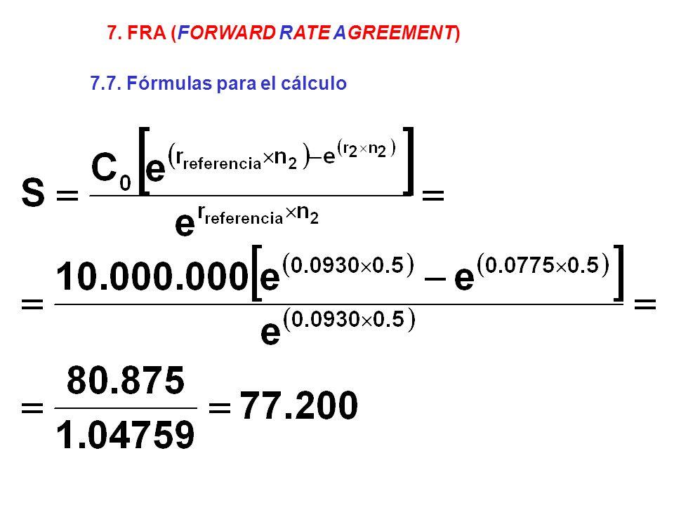 7. FRA (FORWARD RATE AGREEMENT) 7.7. Fórmulas para el cálculo