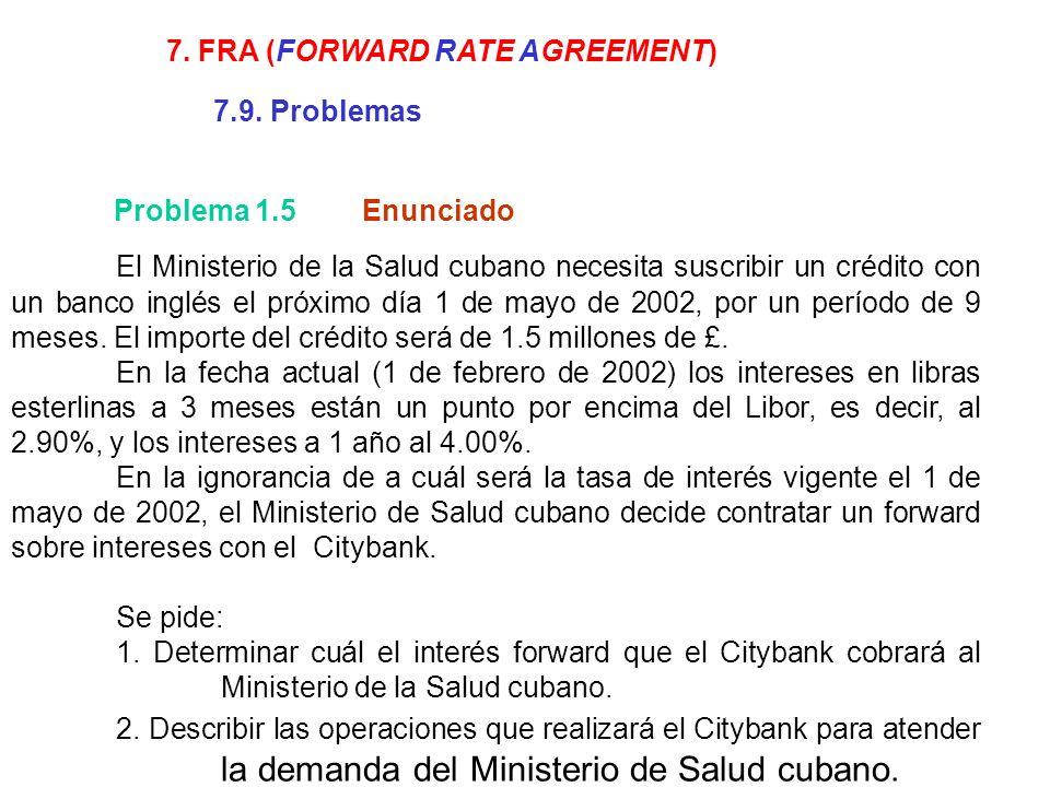El Ministerio de la Salud cubano necesita suscribir un crédito con un banco inglés el próximo día 1 de mayo de 2002, por un período de 9 meses. El imp