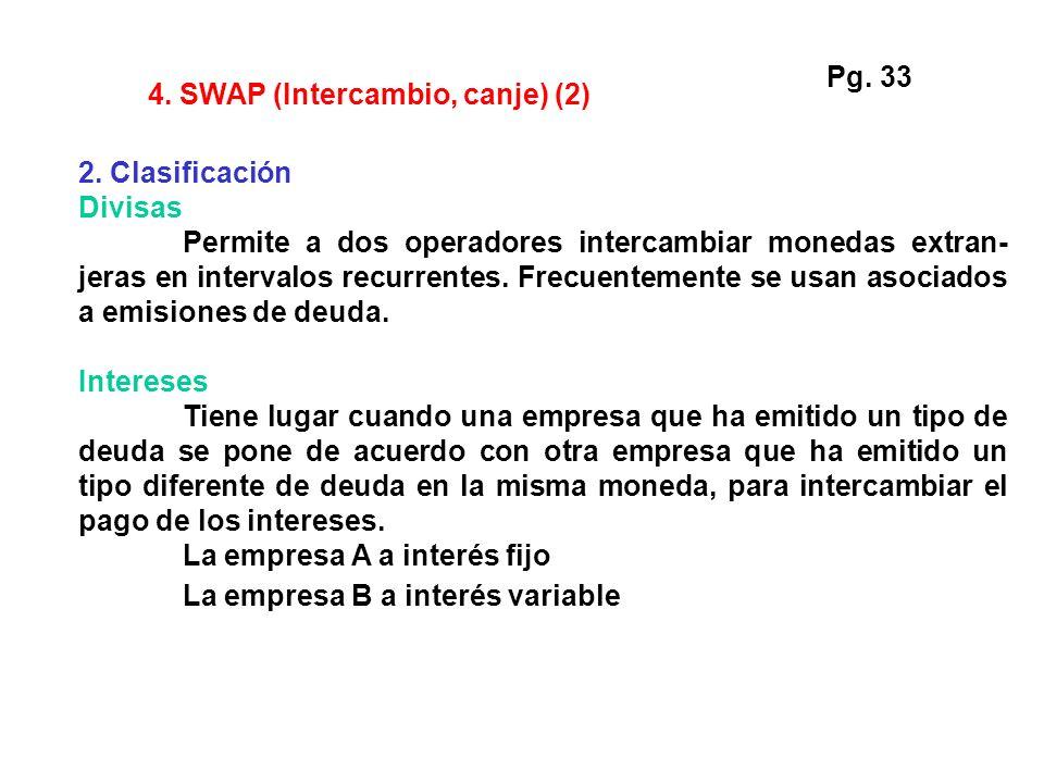 4. SWAP (Intercambio, canje) (2) 2. Clasificación Divisas Permite a dos operadores intercambiar monedas extran- jeras en intervalos recurrentes. Frecu