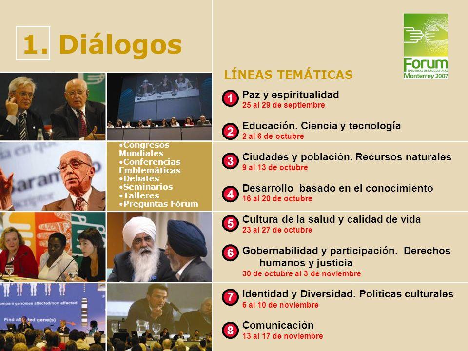 1. Diálogos Congresos Mundiales Conferencias Emblemáticas Debates Seminarios Talleres Preguntas Fórum LÍNEAS TEMÁTICAS Paz y espiritualidad 25 al 29 d