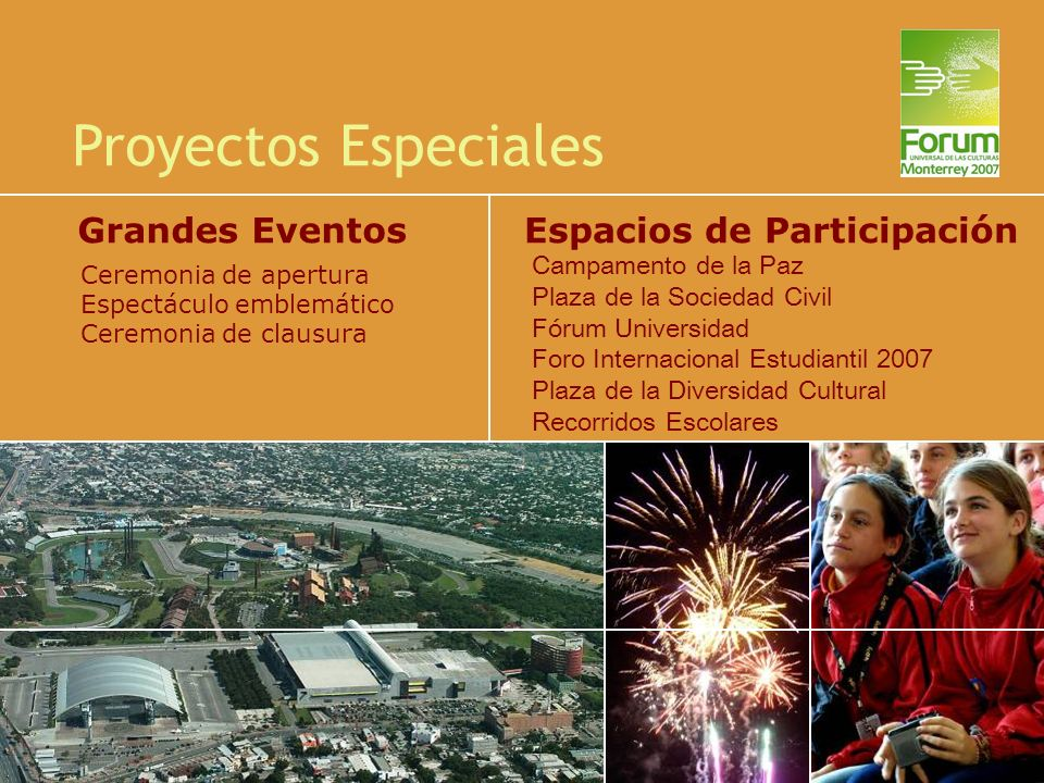 Proyectos Especiales Campamento de la Paz Plaza de la Sociedad Civil Fórum Universidad Foro Internacional Estudiantil 2007 Plaza de la Diversidad Cult
