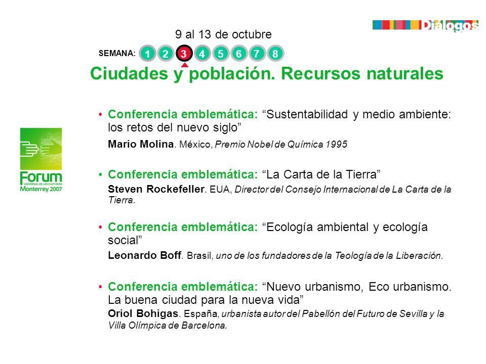 Ciudades y población. Recursos naturales Conferencia emblemática: Sustentabilidad y medio ambiente: los retos del nuevo siglo Mario Molina. México, Pr