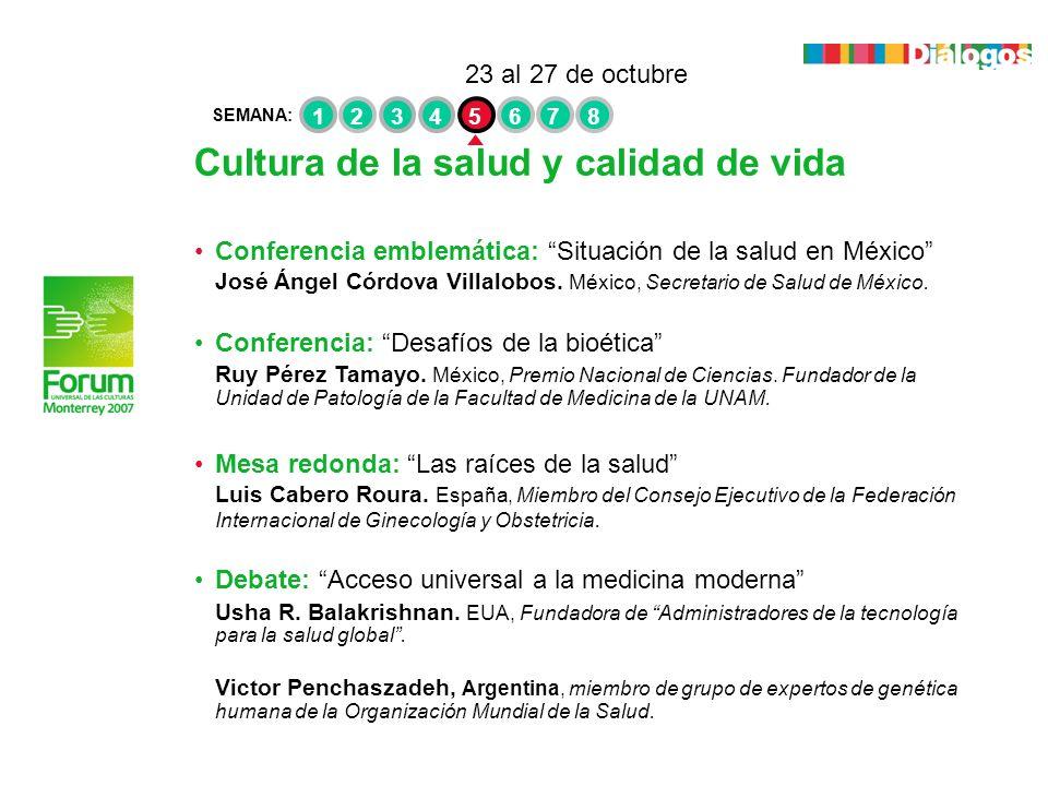 Cultura de la salud y calidad de vida Conferencia emblemática: Situación de la salud en México José Ángel Córdova Villalobos. México, Secretario de Sa