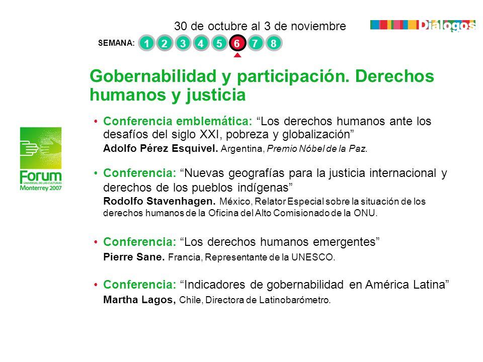 Gobernabilidad y participación. Derechos humanos y justicia Conferencia emblemática: Los derechos humanos ante los desafíos del siglo XXI, pobreza y g