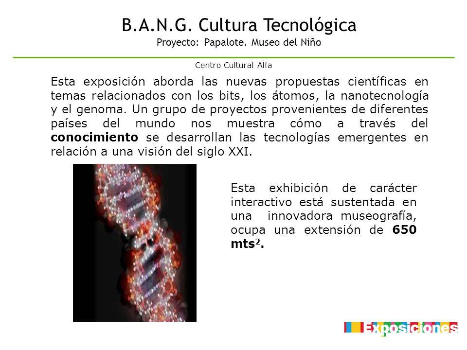 B.A.N.G. Cultura Tecnológica Proyecto: Papalote. Museo del Niño Esta exhibición de carácter interactivo está sustentada en una innovadora museografía,