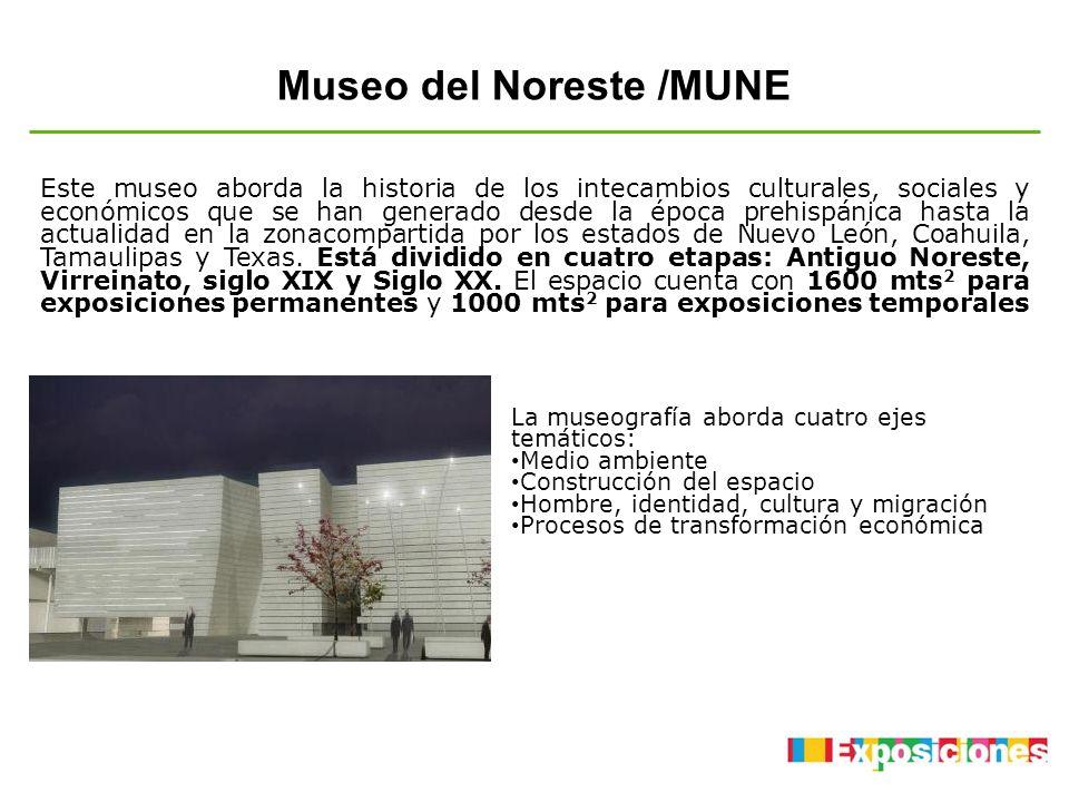 Museo del Noreste /MUNE La museografía aborda cuatro ejes temáticos: Medio ambiente Construcción del espacio Hombre, identidad, cultura y migración Pr