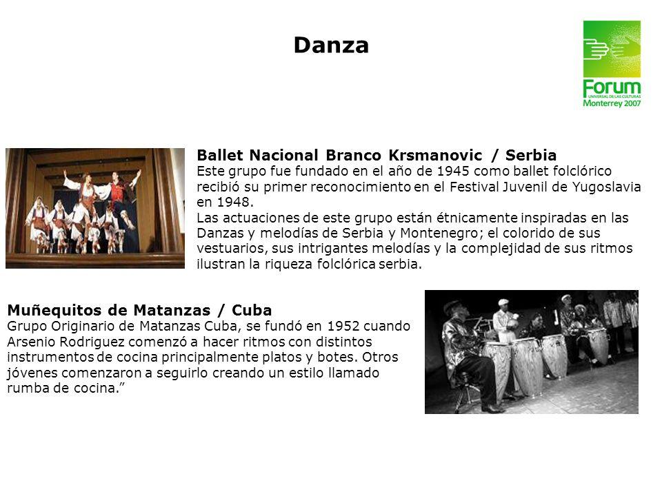 Ballet Nacional Branco Krsmanovic / Serbia Este grupo fue fundado en el año de 1945 como ballet folclórico recibió su primer reconocimiento en el Fest