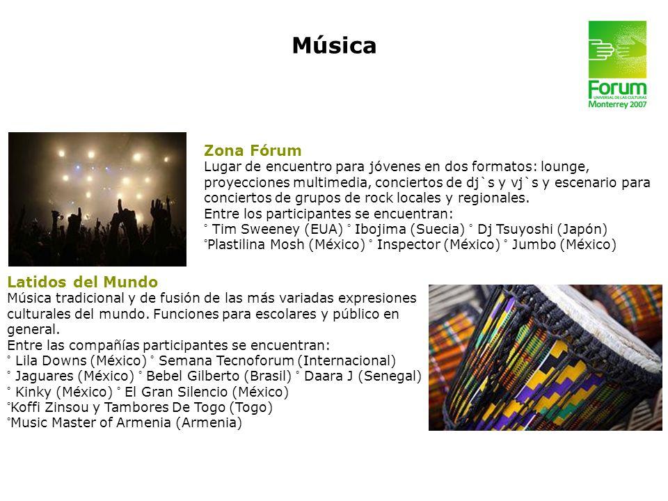 Zona Fórum Lugar de encuentro para jóvenes en dos formatos: lounge, proyecciones multimedia, conciertos de dj`s y vj`s y escenario para conciertos de