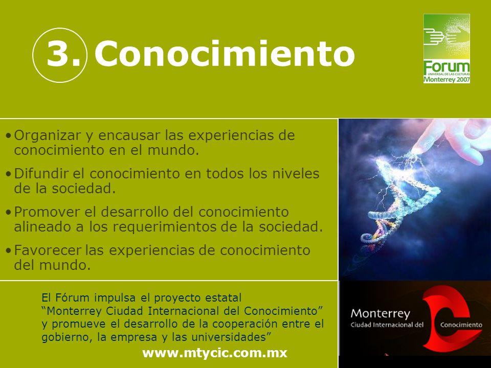 3. Conocimiento www.mtycic.com.mx El Fórum impulsa el proyecto estatal Monterrey Ciudad Internacional del Conocimiento y promueve el desarrollo de la