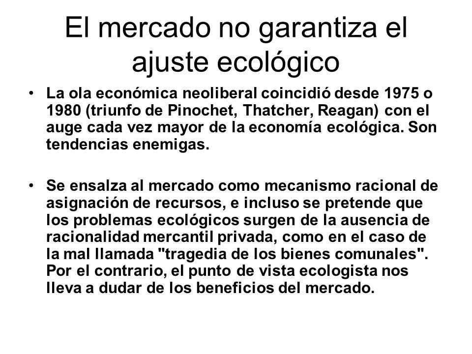 El mercado no garantiza el ajuste ecológico La ola económica neoliberal coincidió desde 1975 o 1980 (triunfo de Pinochet, Thatcher, Reagan) con el auge cada vez mayor de la economía ecológica.
