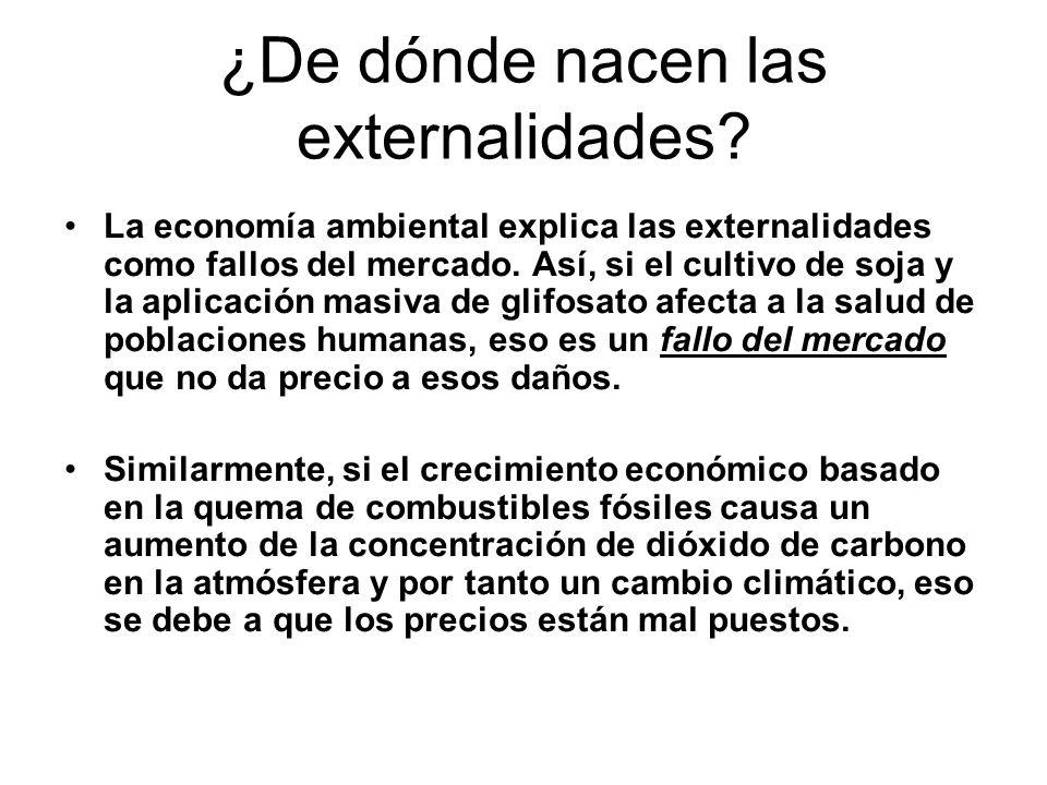 ¿De dónde nacen las externalidades? La economía ambiental explica las externalidades como fallos del mercado. Así, si el cultivo de soja y la aplicaci