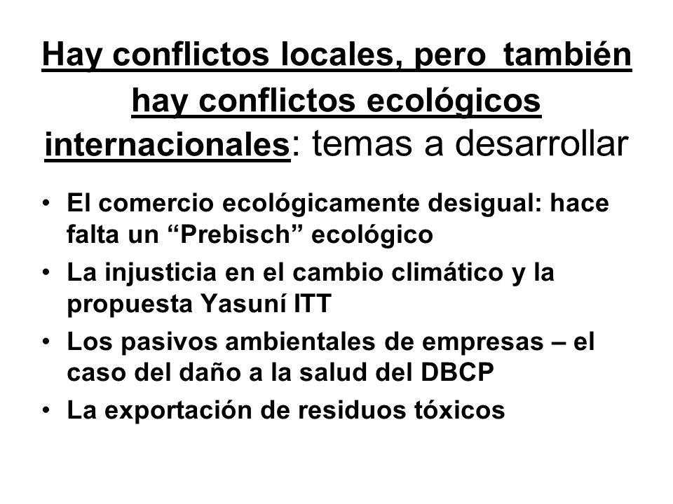 Hay conflictos locales, pero también hay conflictos ecológicos internacionales : temas a desarrollar El comercio ecológicamente desigual: hace falta un Prebisch ecológico La injusticia en el cambio climático y la propuesta Yasuní ITT Los pasivos ambientales de empresas – el caso del daño a la salud del DBCP La exportación de residuos tóxicos