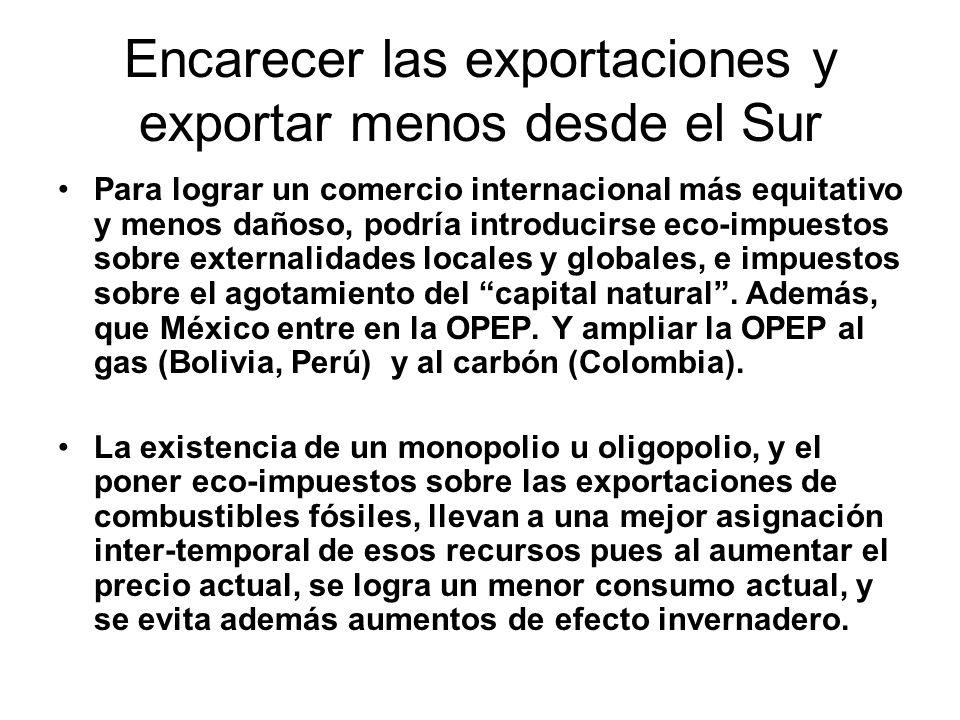 Encarecer las exportaciones y exportar menos desde el Sur Para lograr un comercio internacional más equitativo y menos dañoso, podría introducirse eco-impuestos sobre externalidades locales y globales, e impuestos sobre el agotamiento del capital natural.
