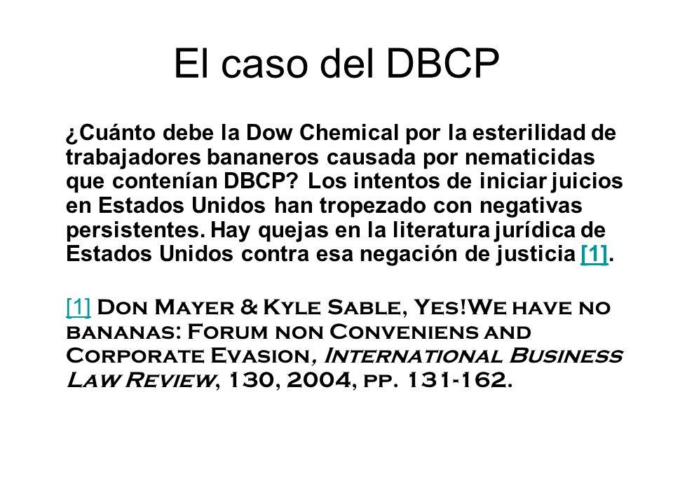 El caso del DBCP ¿Cuánto debe la Dow Chemical por la esterilidad de trabajadores bananeros causada por nematicidas que contenían DBCP.