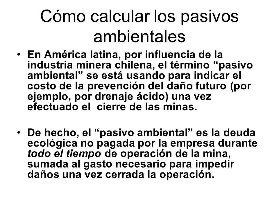 Cómo calcular los pasivos ambientales En América latina, por influencia de la industria minera chilena, el término pasivo ambiental se está usando par