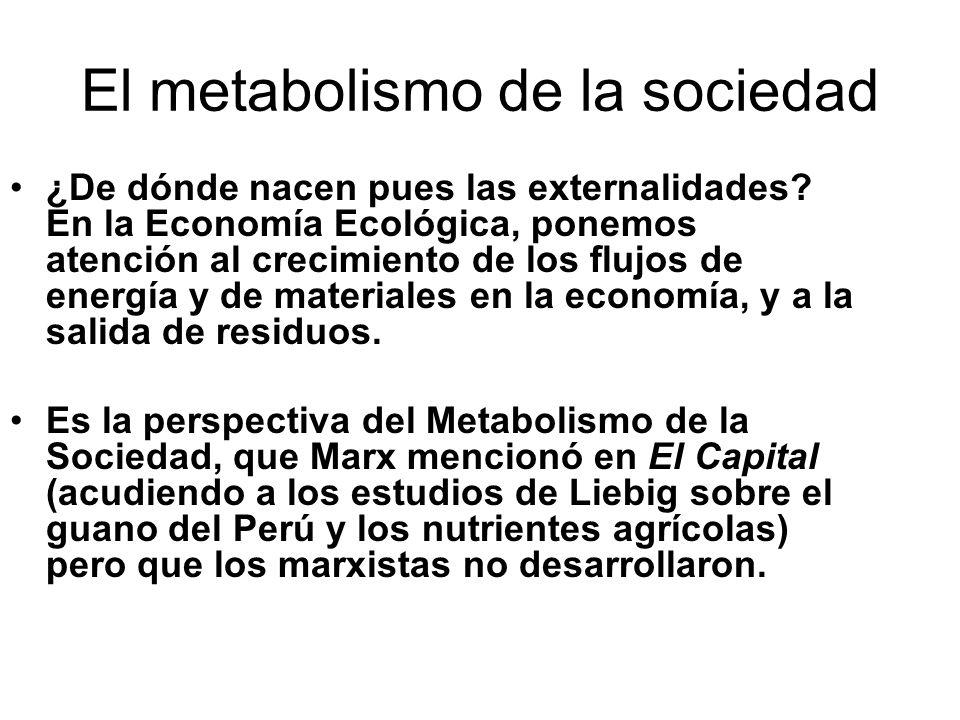 El metabolismo de la sociedad ¿De dónde nacen pues las externalidades? En la Economía Ecológica, ponemos atención al crecimiento de los flujos de ener