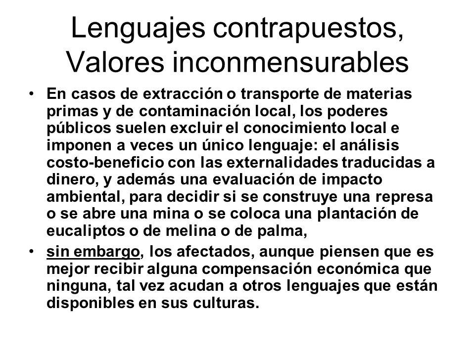 Lenguajes contrapuestos, Valores inconmensurables En casos de extracción o transporte de materias primas y de contaminación local, los poderes público