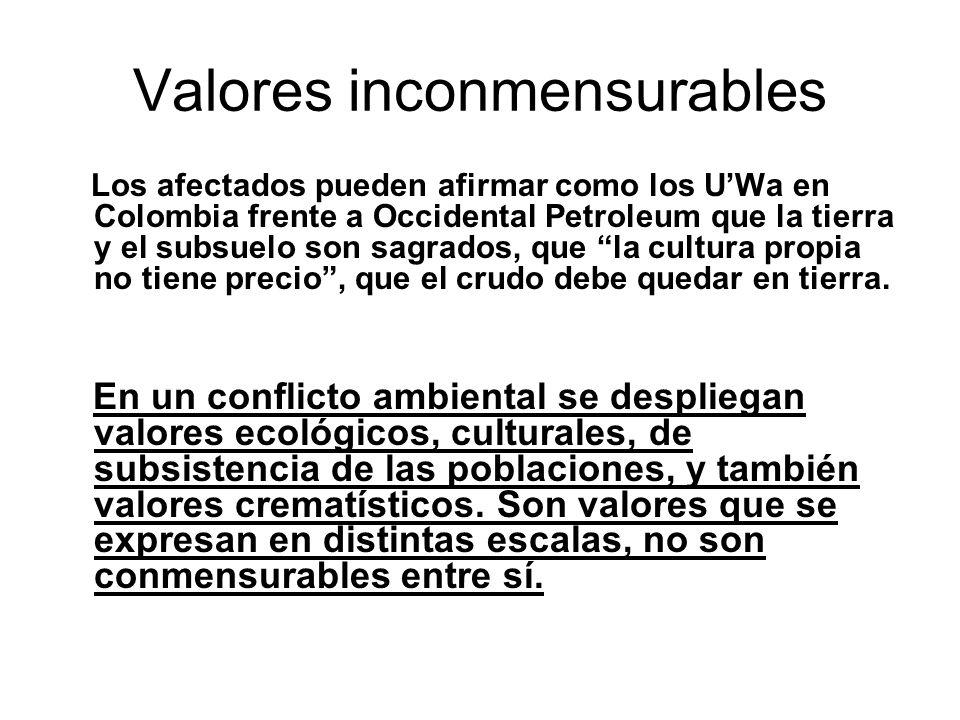 Valores inconmensurables Los afectados pueden afirmar como los UWa en Colombia frente a Occidental Petroleum que la tierra y el subsuelo son sagrados, que la cultura propia no tiene precio, que el crudo debe quedar en tierra.