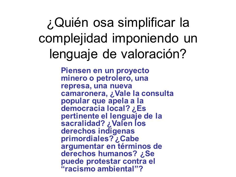 ¿Quién osa simplificar la complejidad imponiendo un lenguaje de valoración? Piensen en un proyecto minero o petrolero, una represa, una nueva camarone