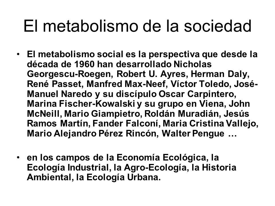 El metabolismo de la sociedad El metabolismo social es la perspectiva que desde la década de 1960 han desarrollado Nicholas Georgescu-Roegen, Robert U