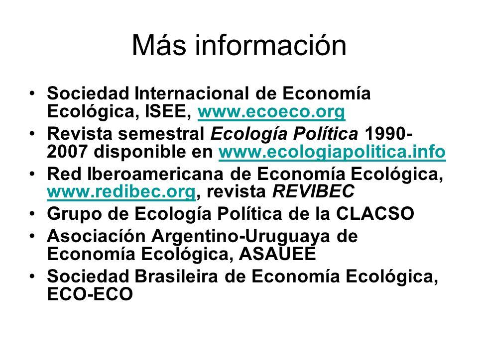 Más información Sociedad Internacional de Economía Ecológica, ISEE, www.ecoeco.orgwww.ecoeco.org Revista semestral Ecología Política 1990- 2007 disponible en www.ecologiapolitica.infowww.ecologiapolitica.info Red Iberoamericana de Economía Ecológica, www.redibec.org, revista REVIBEC www.redibec.org Grupo de Ecología Política de la CLACSO Asociacíón Argentino-Uruguaya de Economía Ecológica, ASAUEE Sociedad Brasileira de Economía Ecológica, ECO-ECO