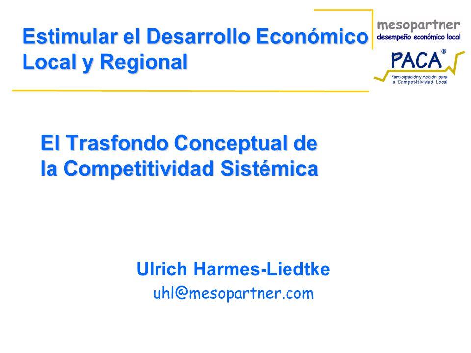 El Trasfondo Conceptual de la Competitividad Sistémica Ulrich Harmes-Liedtke uhl@mesopartner.com Estimular el Desarrollo Económico Local y Regional