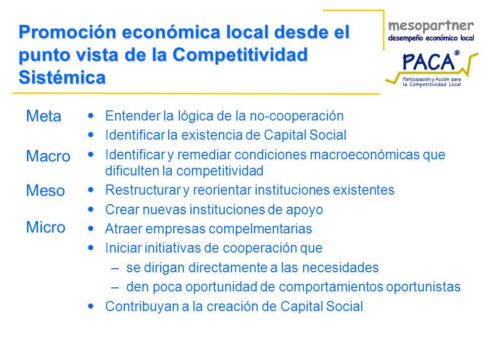 Promoción económica local desde el punto vista de la Competitividad Sistémica Meta Entender la lógica de la no-cooperación Identificar la existencia d