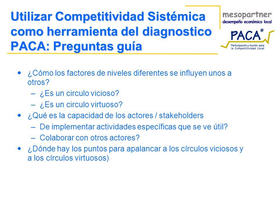Utilizar Competitividad Sistémica como herramienta del diagnostico PACA: Preguntas guía ¿Cómo los factores de niveles diferentes se influyen unos a otros.