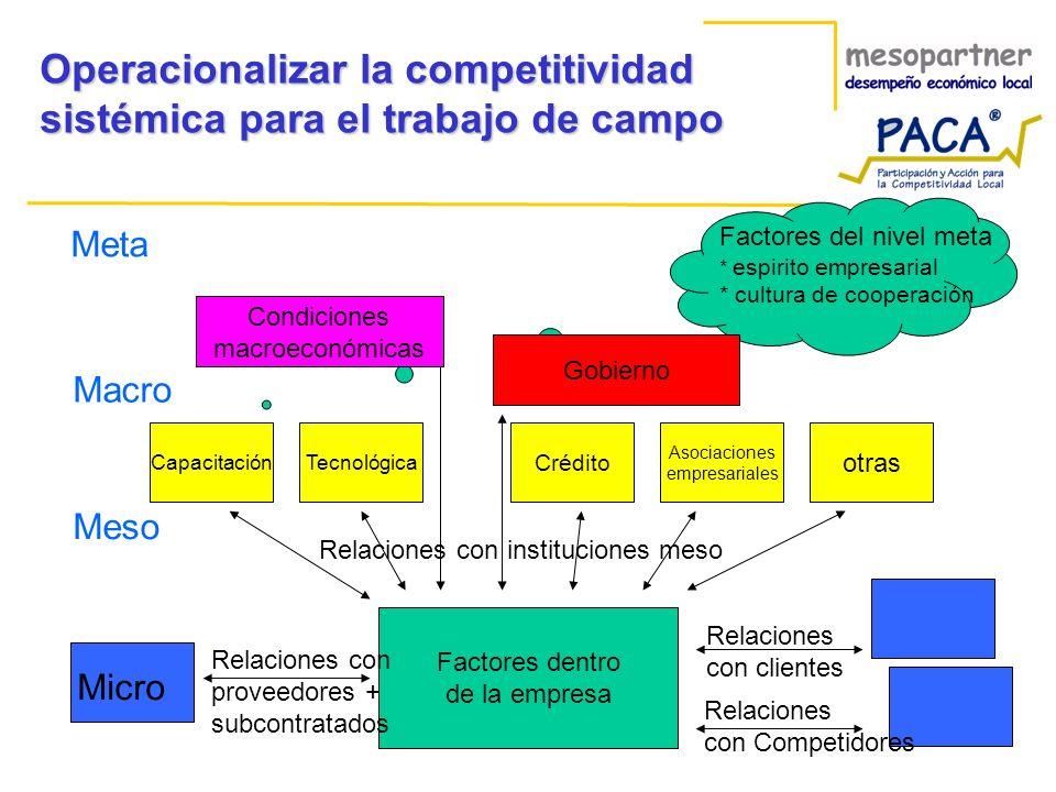 Operacionalizar la competitividad sistémica para el trabajo de campo Factores dentro de la empresa Relaciones con proveedores + subcontratados Relacio