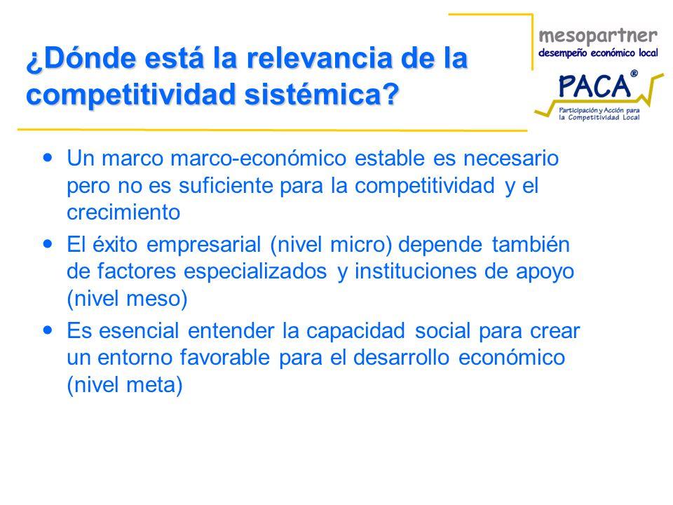 ¿Dónde está la relevancia de la competitividad sistémica? Un marco marco-económico estable es necesario pero no es suficiente para la competitividad y