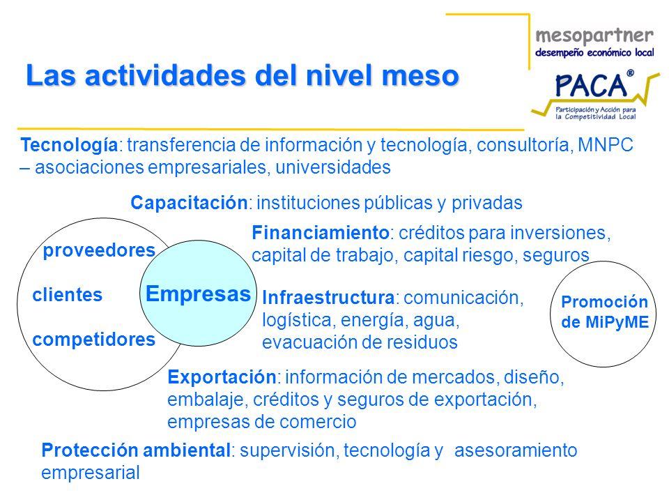 Empresas proveedores clientes competidores Tecnología: transferencia de información y tecnología, consultoría, MNPC – asociaciones empresariales, univ