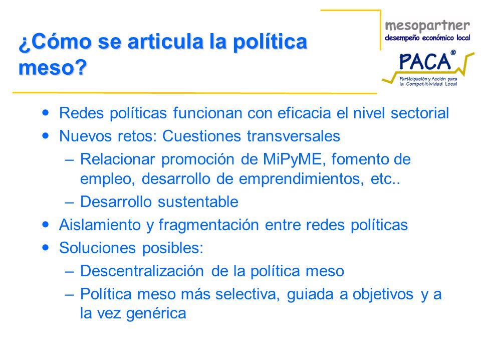 ¿Cómo se articula la política meso? Redes políticas funcionan con eficacia el nivel sectorial Nuevos retos: Cuestiones transversales –Relacionar promo