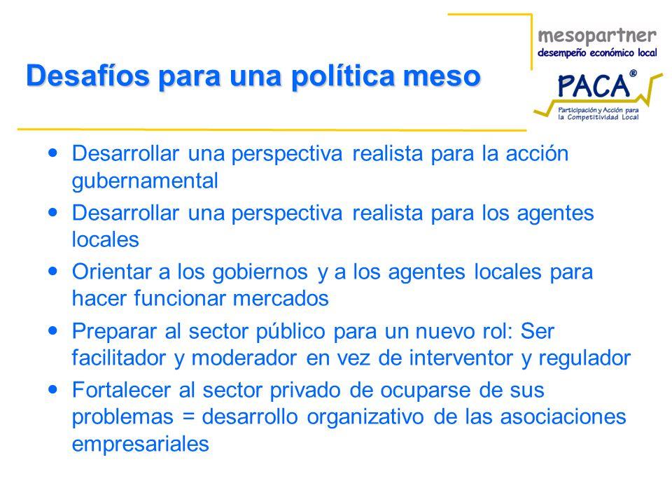 Desafíos para una política meso Desarrollar una perspectiva realista para la acción gubernamental Desarrollar una perspectiva realista para los agente