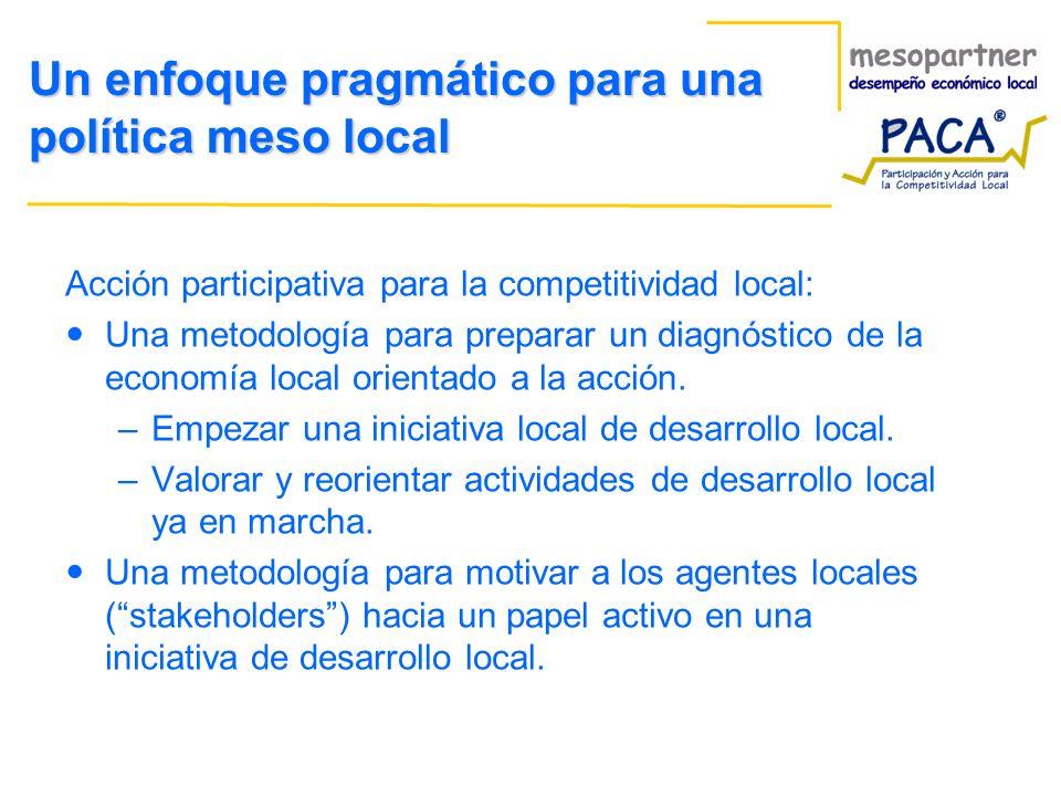 Un enfoque pragmático para una política meso local Acción participativa para la competitividad local: Una metodología para preparar un diagnóstico de