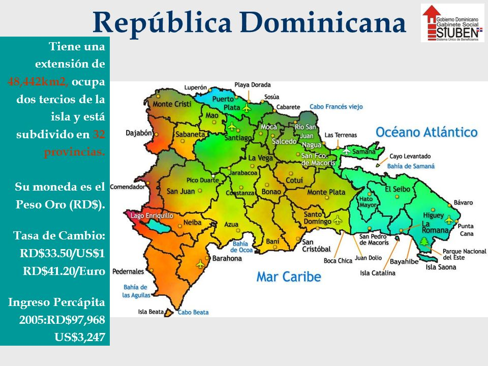 República Dominicana Tiene una extensión de 48,442km2, ocupa dos tercios de la isla y está subdivido en 32 provincias. Su moneda es el Peso Oro (RD$).