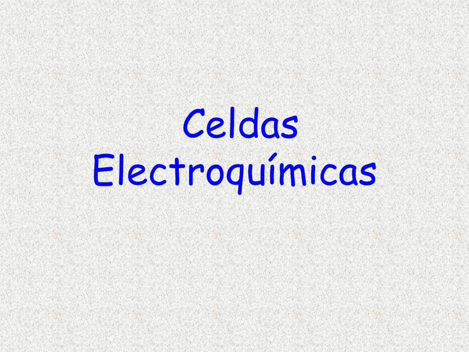 e-e- Ag + Ag Por cada electrón, un átomo de plata se deposita en el electrodo Ag + + e - Ag La corriente eléctrica se expresa en amperes, que se define como la cantidad de corriente que al pasar a través de una solución de AgNO 3 (acuoso) en condiciones estándar, depositará plata a razón de 0,001118 g Ag/segundo 1 amp = 0,001118 g Ag/segundo