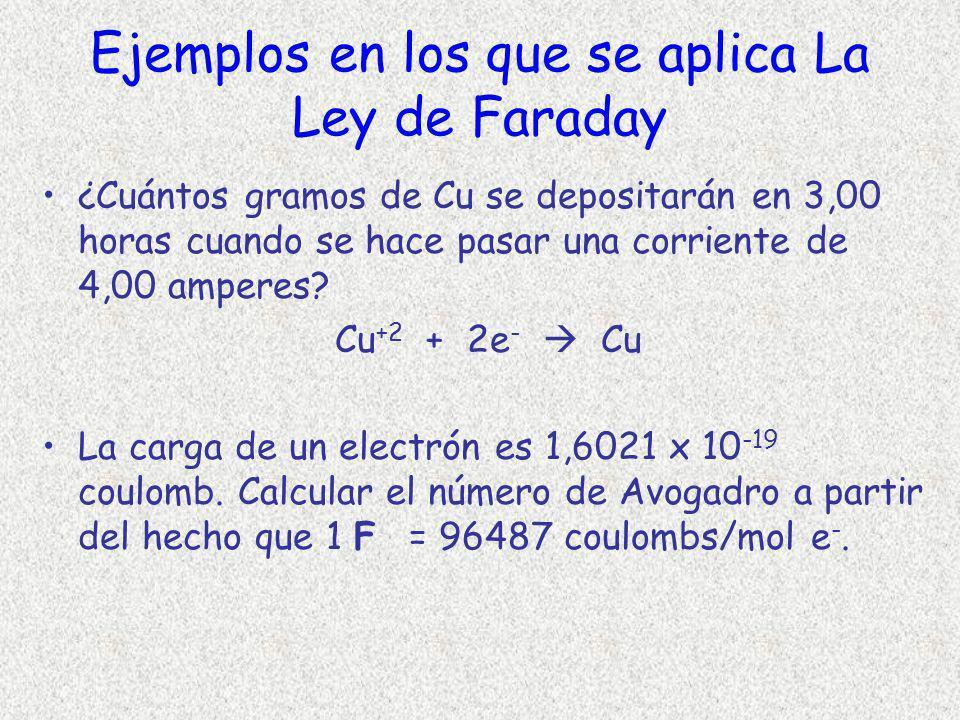 Ejemplos en los que se aplica La Ley de Faraday ¿Cuántos gramos de Cu se depositarán en 3,00 horas cuando se hace pasar una corriente de 4,00 amperes?