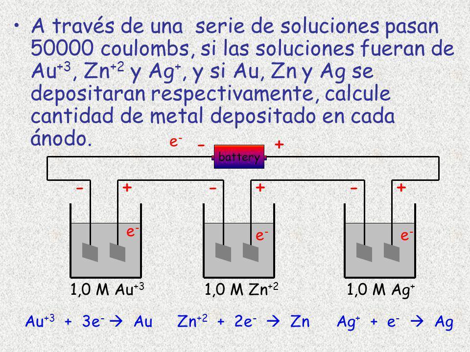 A través de una serie de soluciones pasan 50000 coulombs, si las soluciones fueran de Au +3, Zn +2 y Ag +, y si Au, Zn y Ag se depositaran respectivam
