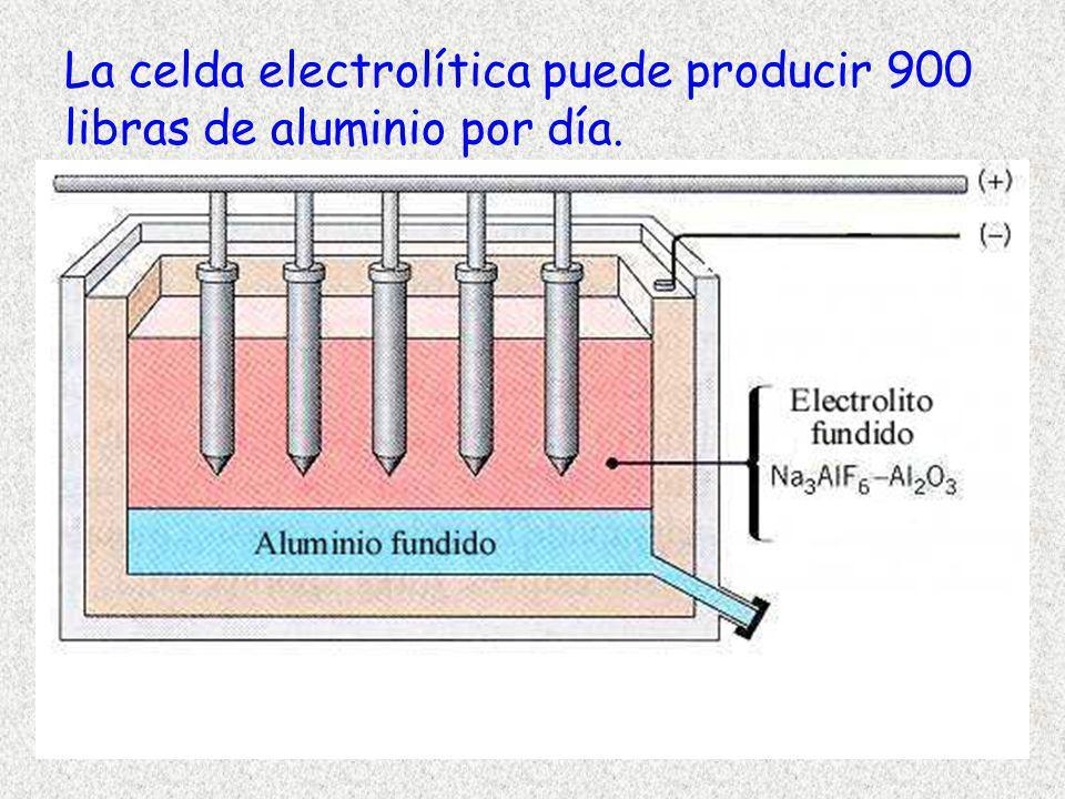 La celda electrolítica puede producir 900 libras de aluminio por día.