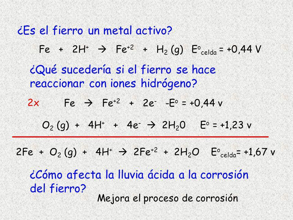 ¿Es el fierro un metal activo? ¿Qué sucedería si el fierro se hace reaccionar con iones hidrógeno? ¿Cómo afecta la lluvia ácida a la corrosión del fie