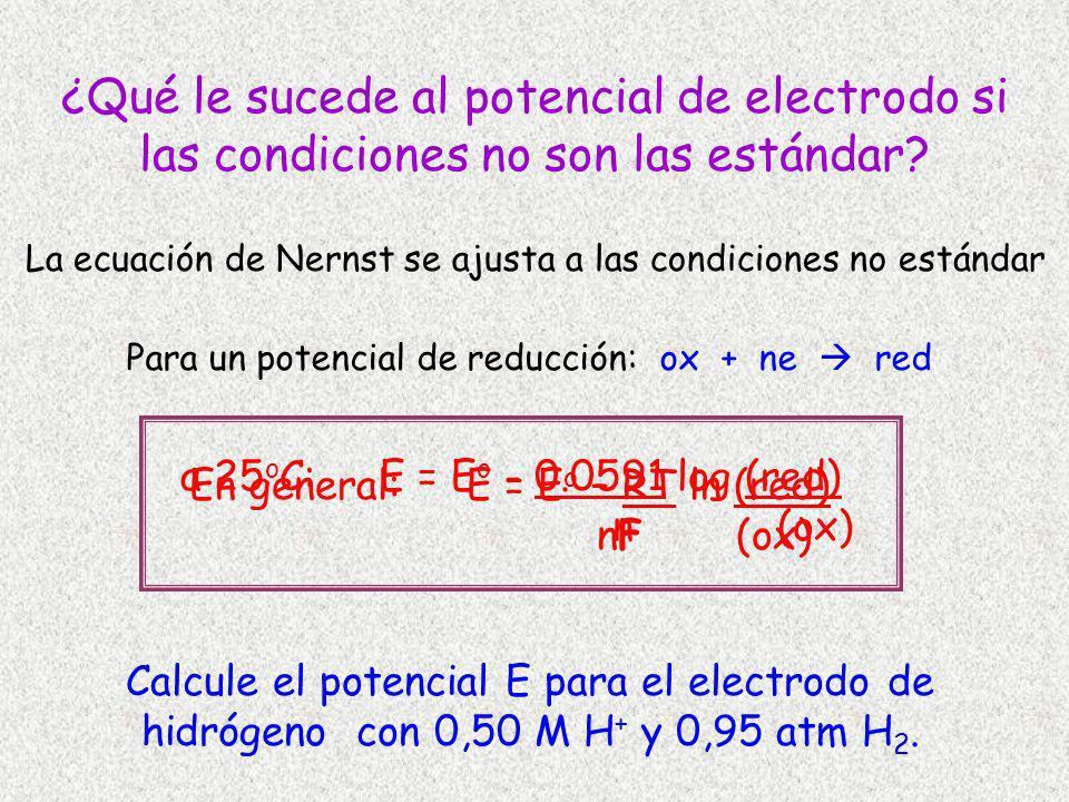¿Qué le sucede al potencial de electrodo si las condiciones no son las estándar? La ecuación de Nernst se ajusta a las condiciones no estándar Para un