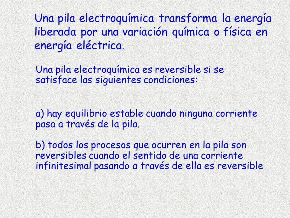 Una pila electroquímica transforma la energía liberada por una variación química o física en energía eléctrica. Una pila electroquímica es reversible