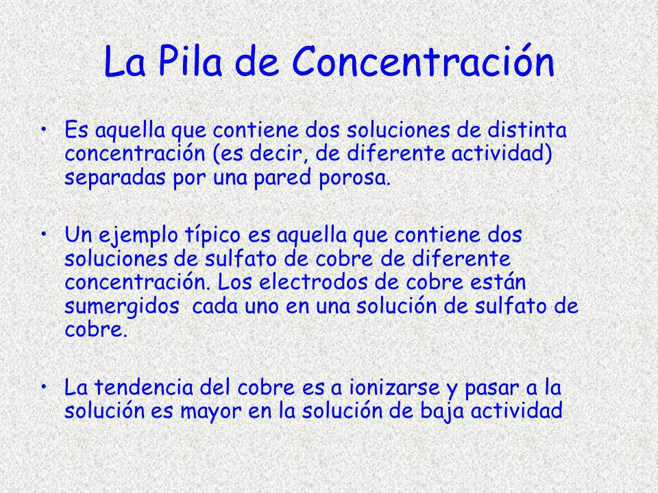 La Pila de Concentración Es aquella que contiene dos soluciones de distinta concentración (es decir, de diferente actividad) separadas por una pared p