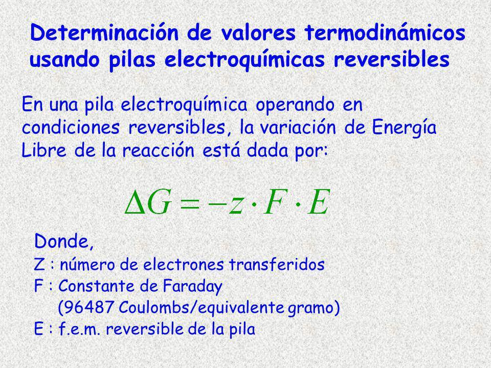 Determinación de valores termodinámicos usando pilas electroquímicas reversibles Donde, Z : número de electrones transferidos F : Constante de Faraday