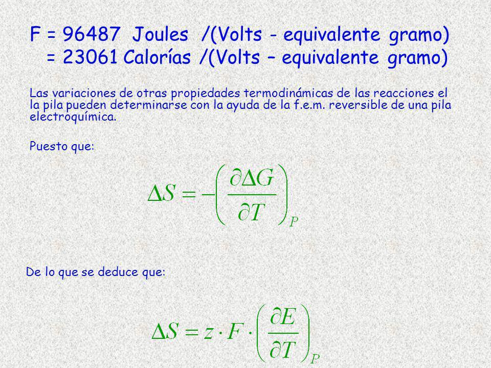 F = 96487 Joules /(Volts - equivalente gramo) = 23061 Calorías /(Volts – equivalente gramo) Las variaciones de otras propiedades termodinámicas de las