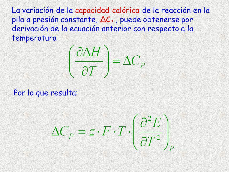 La variación de la capacidad calórica de la reacción en la pila a presión constante, C P, puede obtenerse por derivación de la ecuación anterior con r