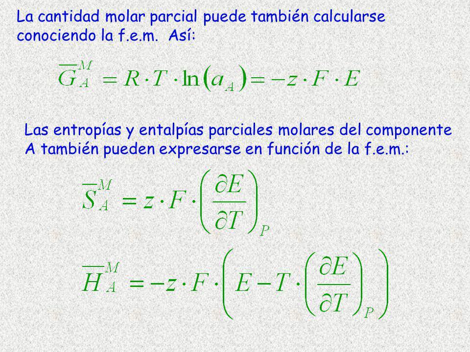 La cantidad molar parcial puede también calcularse conociendo la f.e.m. Así: Las entropías y entalpías parciales molares del componente A también pued