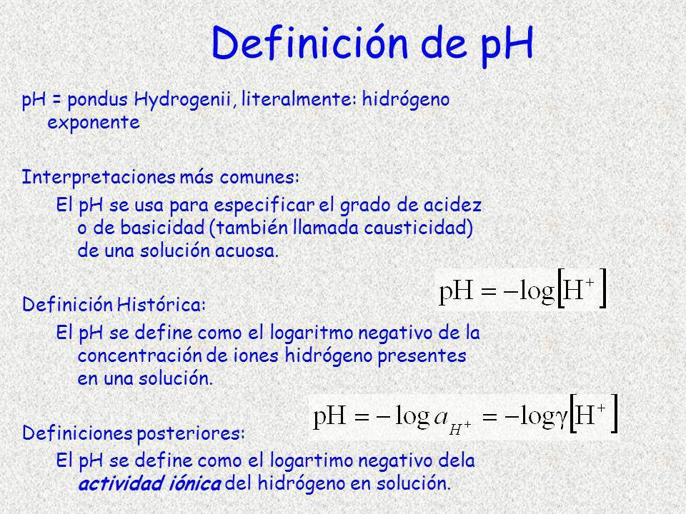 Definición de pH pH = pondus Hydrogenii, literalmente: hidrógeno exponente Interpretaciones más comunes: El pH se usa para especificar el grado de aci