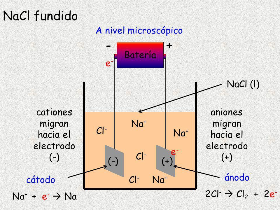 Celda electrolítica con NaCl fundido Semi reacción catódica (-) REDUCCION Na + + e - Na Semi reacción anódica (+) OXIDACION2Cl - Cl 2 + 2e - Reacción global 2Na + + 2Cl - 2Na + Cl 2 Reacción no espontánea .